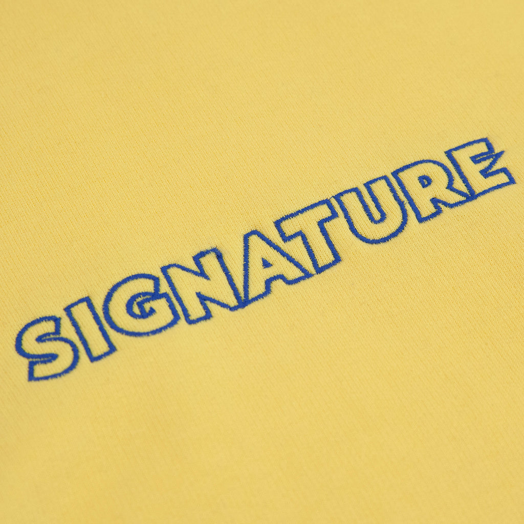 Signature Clothing Outline Logo Embroidered Hoodie in Sherbet Lemon / Blue - Embroidery