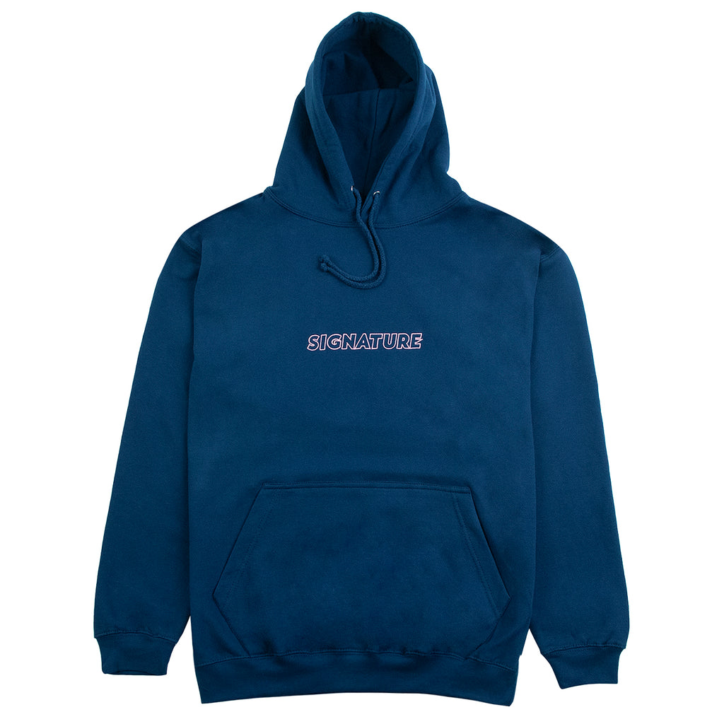Signature Clothing Outline Logo Embroidered Hoodie in Ink Blue / Pink