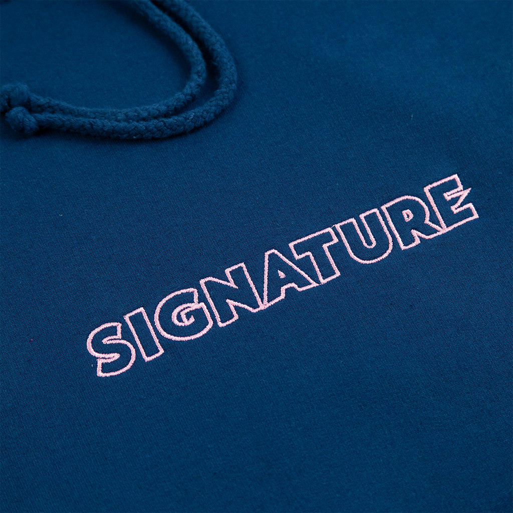 Signature Clothing Outline Logo Embroidered Hoodie in Ink Blue / Pink - Embroidery