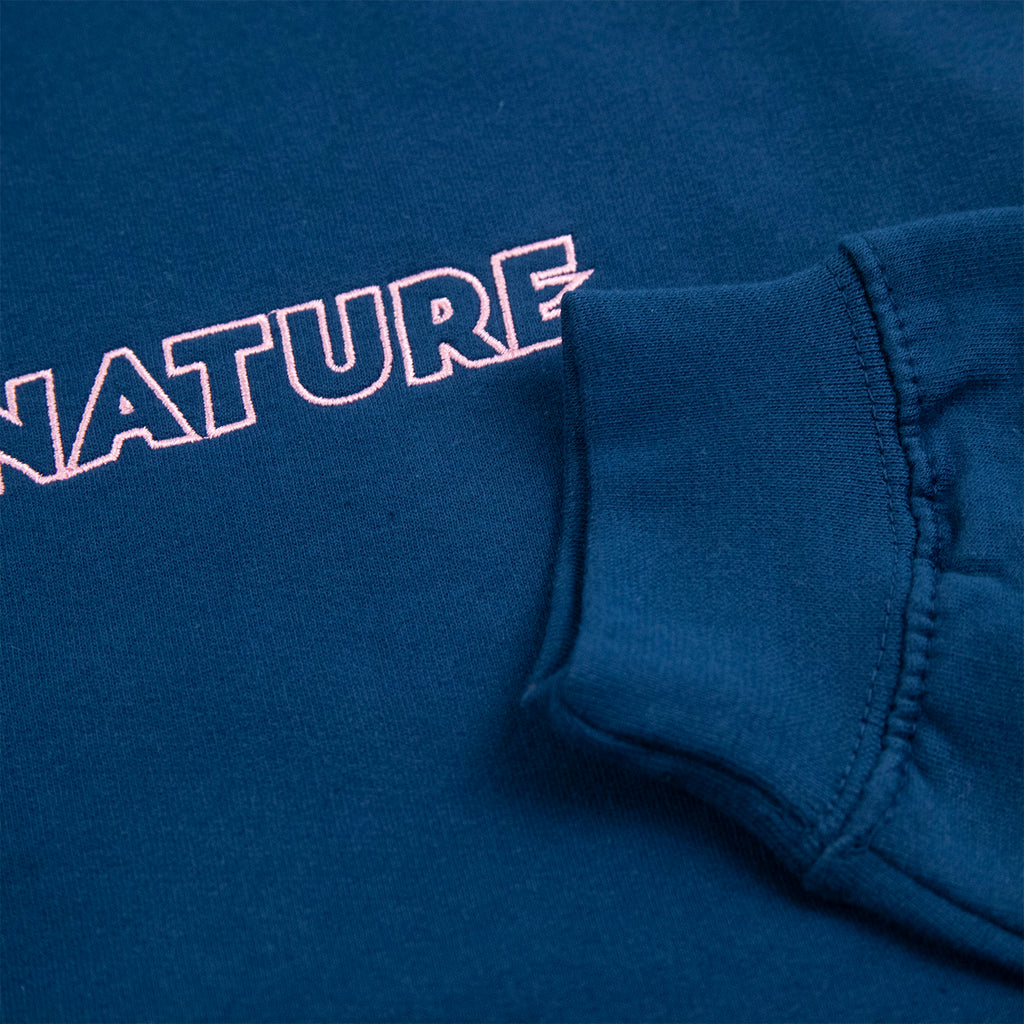 Signature Clothing Outline Logo Embroidered Hoodie in Ink Blue / Pink - Cuff