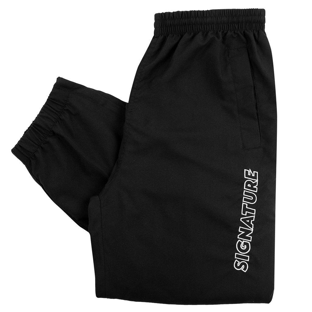 Signature Clothing Outline Logo Embroidered Tracksuit Pants in Black / White