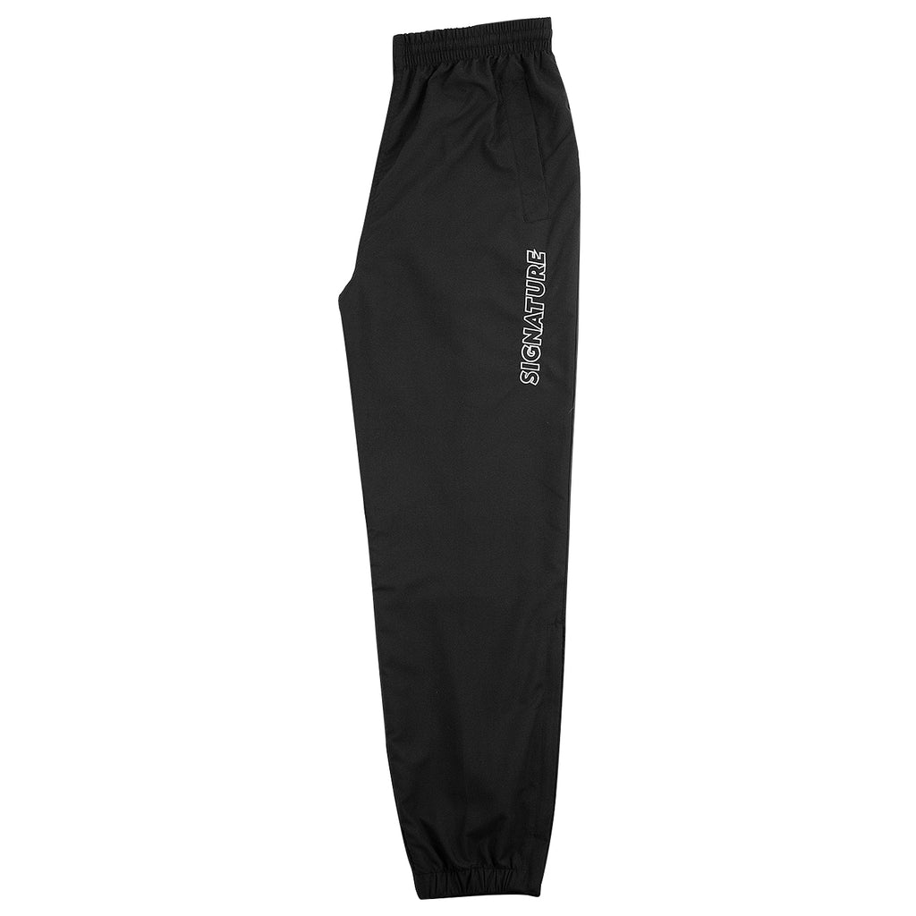 Signature Clothing Outline Logo Embroidered Tracksuit Pants in Black / White - Leg