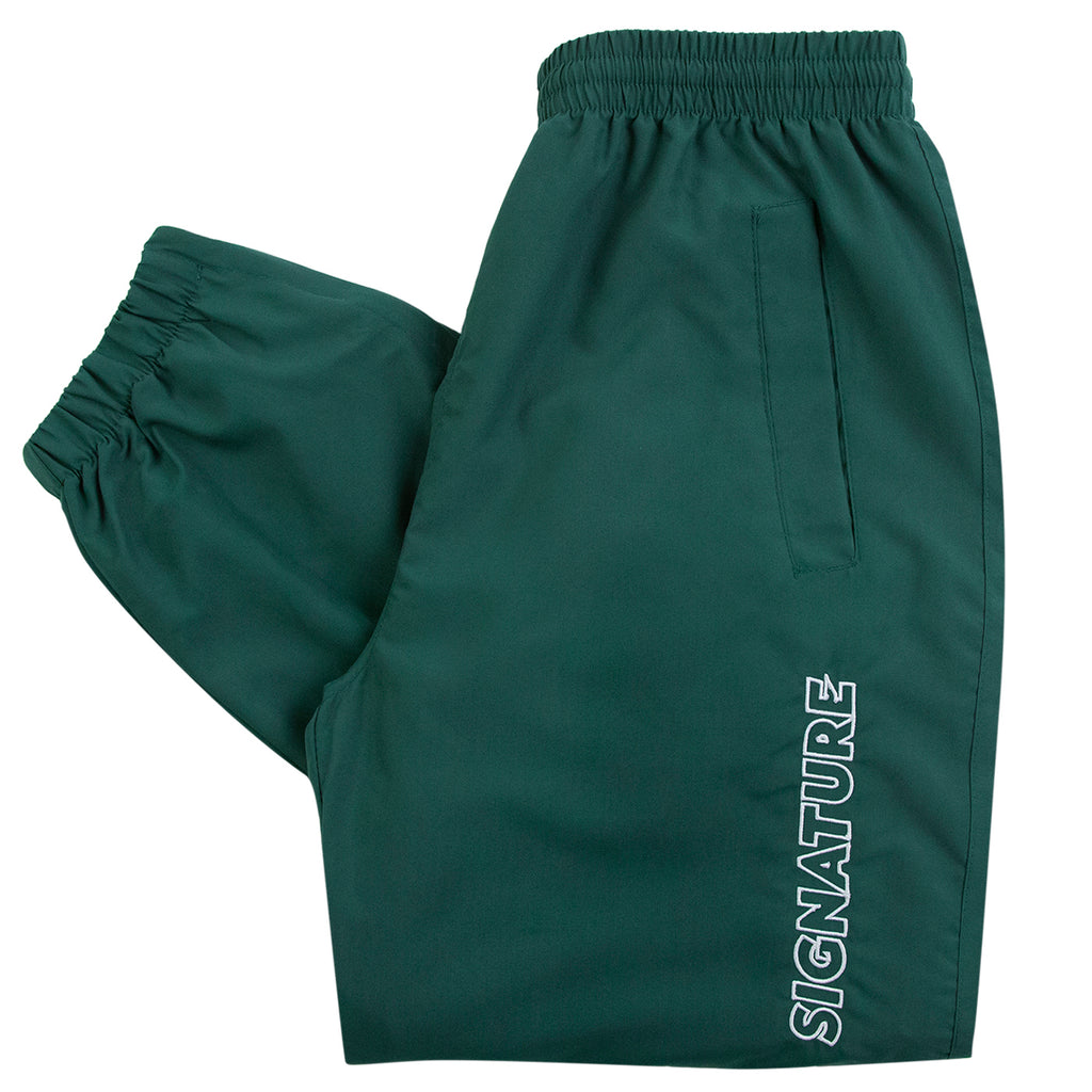 Signature Clothing Outline Logo Embroidered Tracksuit Pants in Dark Green / White