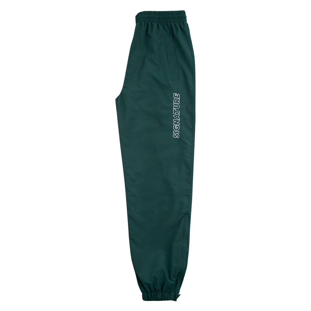 Signature Clothing Outline Logo Embroidered Tracksuit Pants in Dark Green / White - Leg