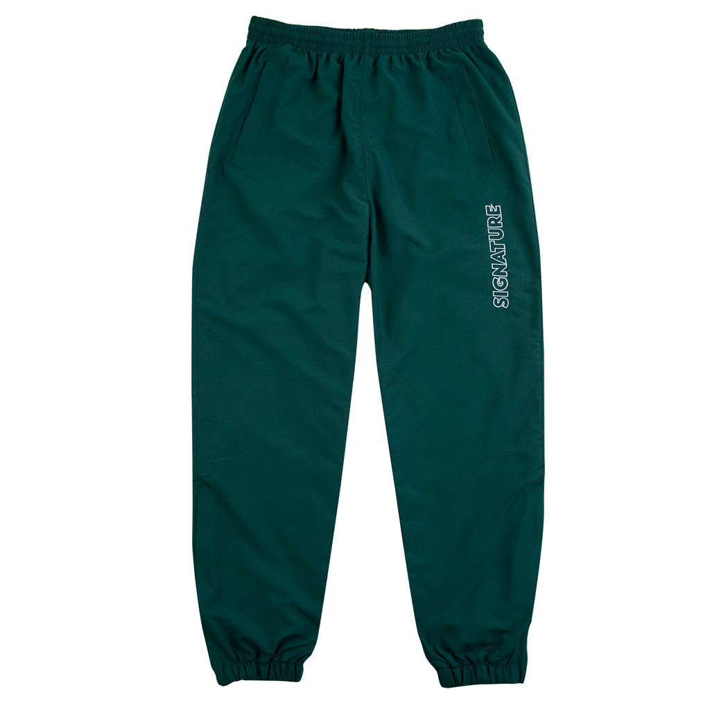 Signature Clothing Outline Logo Embroidered Tracksuit Pants in Dark Green / White - Open