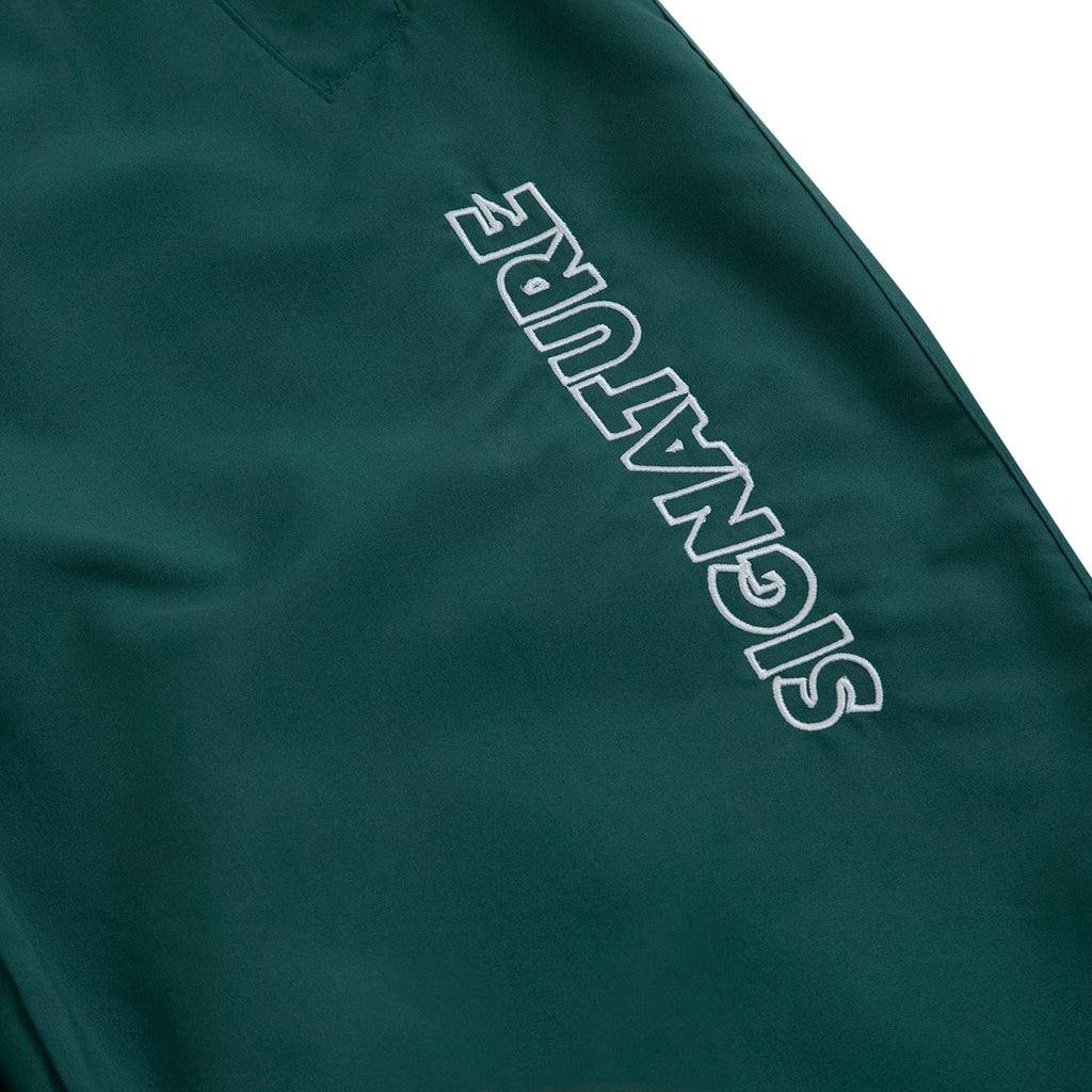 Signature Clothing Outline Logo Embroidered Tracksuit Pants in Dark Green / White - Embroidery