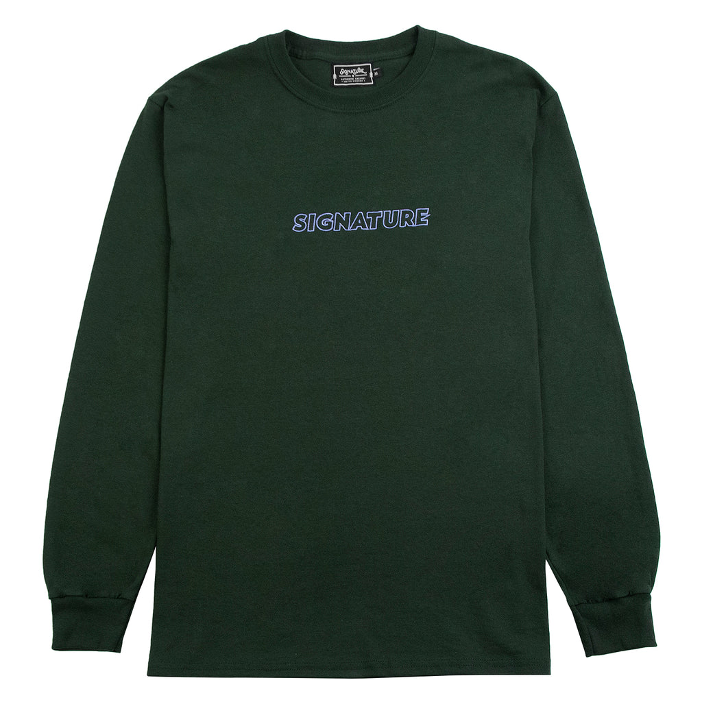 Signature Clothing L/S Outline Logo Embroidered T Shirt in Forest Green