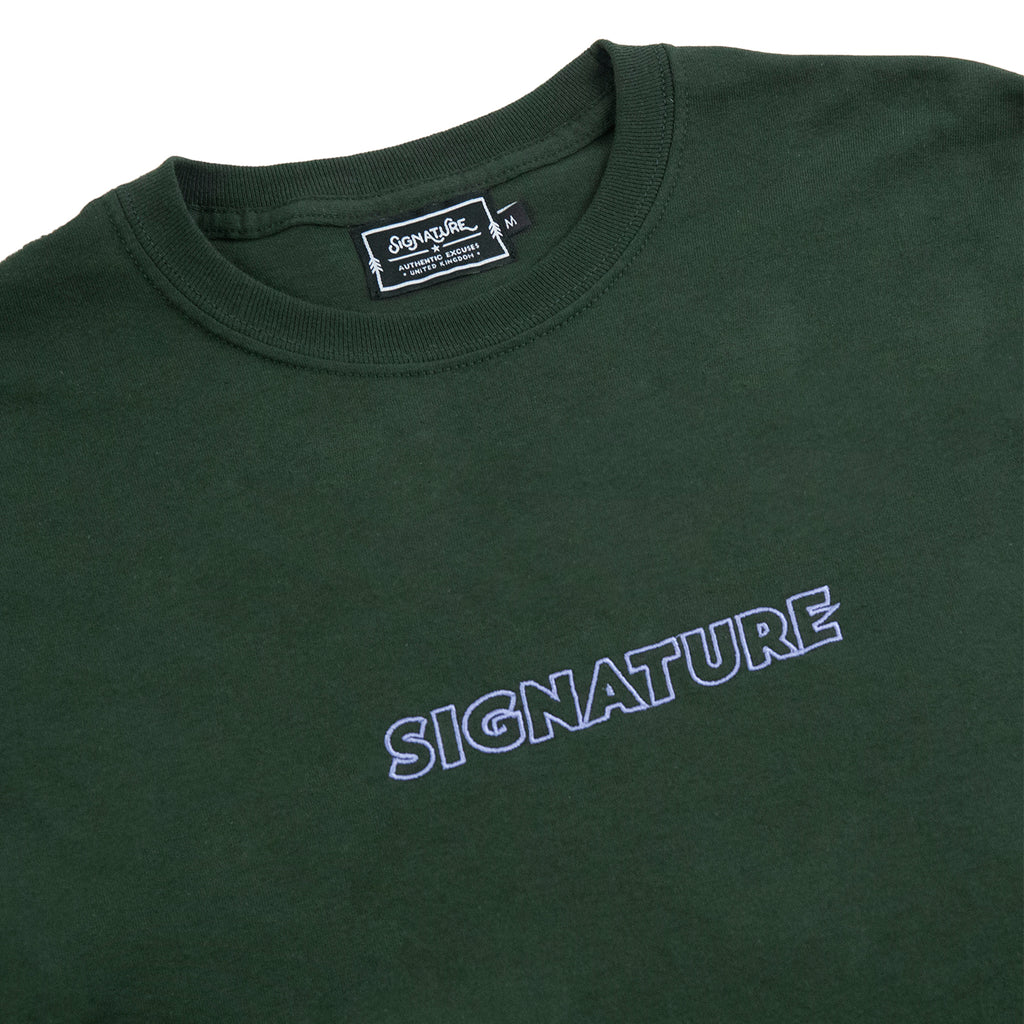 Signature Clothing L/S Outline Logo Embroidered T Shirt in Forest Green - Detail