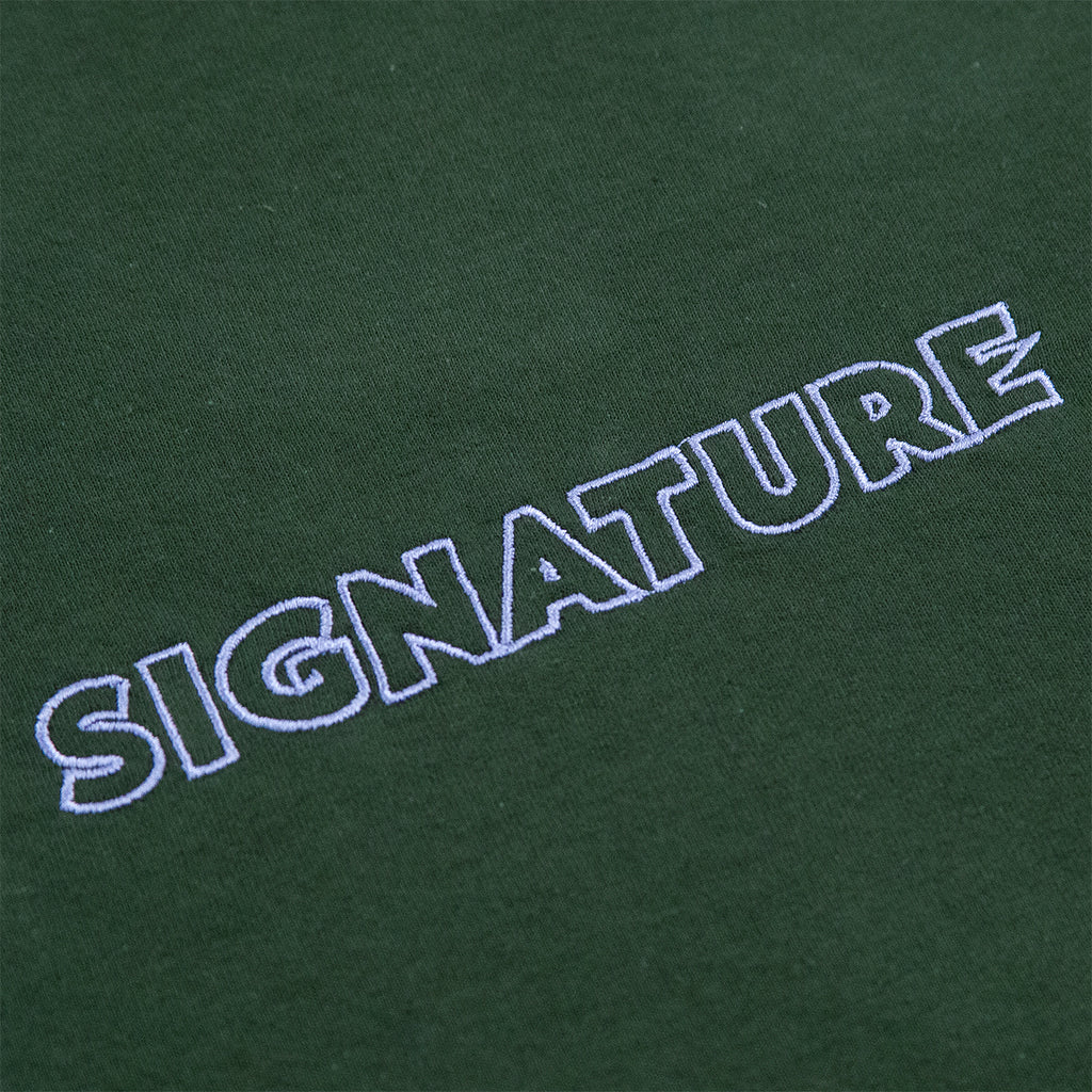 Signature Clothing L/S Outline Logo Embroidered T Shirt in Forest Green - Embroidery