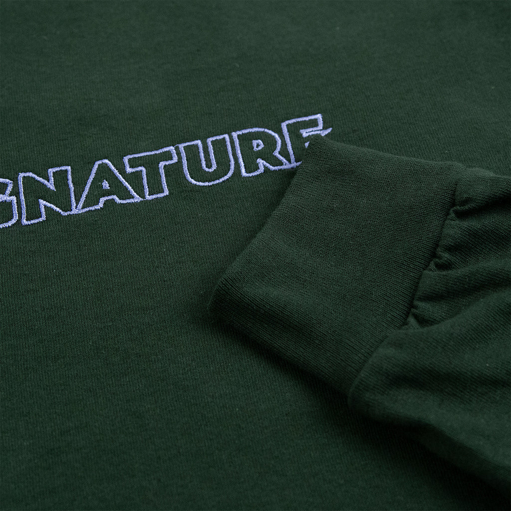 Signature Clothing L/S Outline Logo Embroidered T Shirt in Forest Green - Cuff