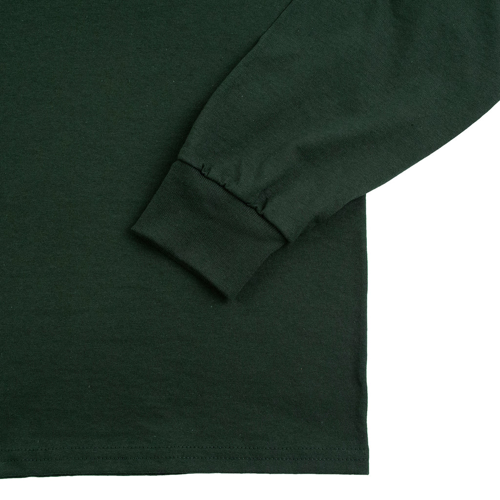 Signature Clothing L/S Outline Logo Embroidered T Shirt in Forest Green - Cuff 2