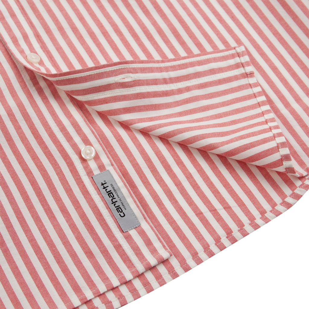Carhartt WIP S/S Simon Shirt in Etna Red - Label