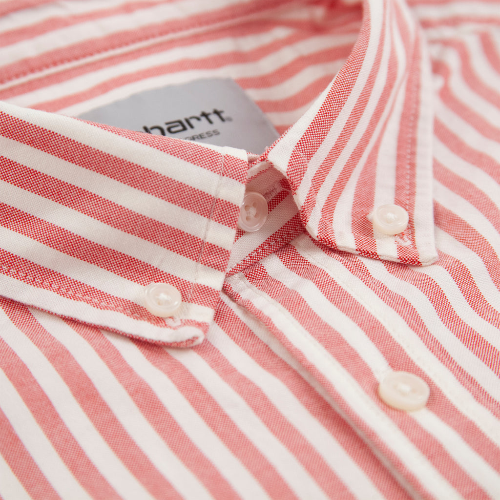 Carhartt WIP S/S Simon Shirt in Etna Red - Collar