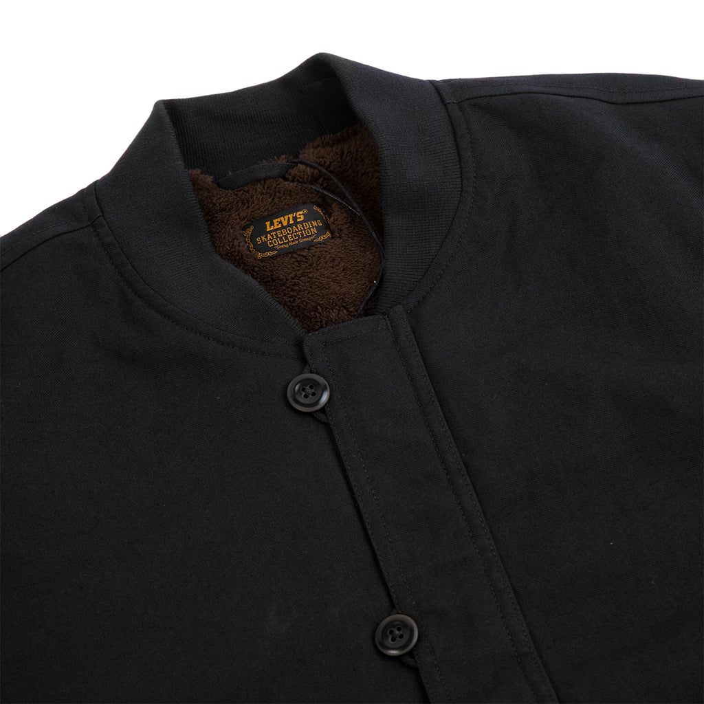 Levis Skateboarding Skate Pile Jacket in Jet Black Canvas - Detail