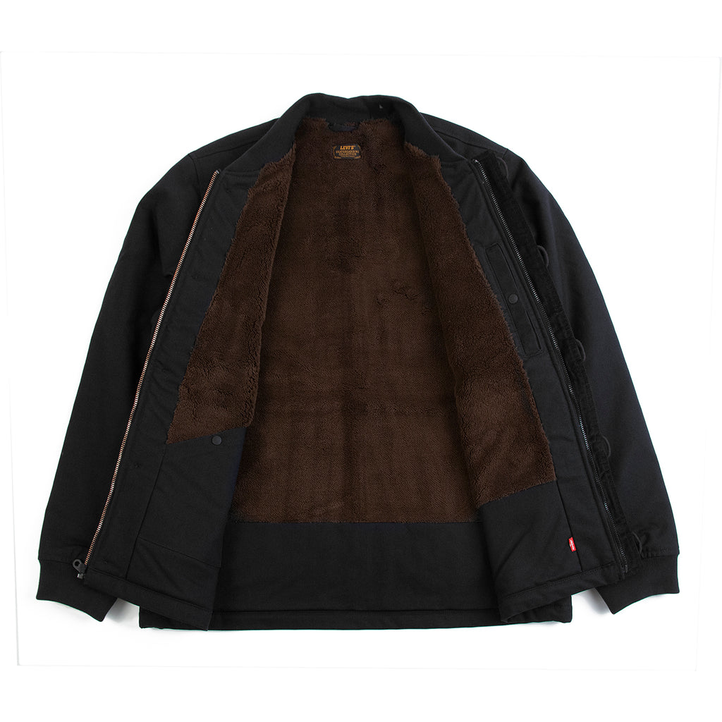 Levis Skateboarding Skate Pile Jacket in Jet Black Canvas - Open