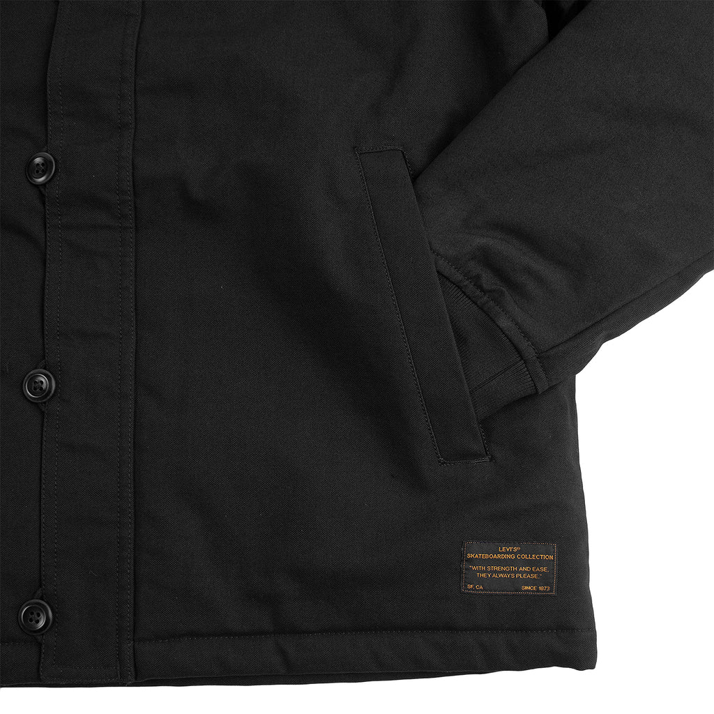 Levis Skateboarding Skate Pile Jacket in Jet Black Canvas - Cuff