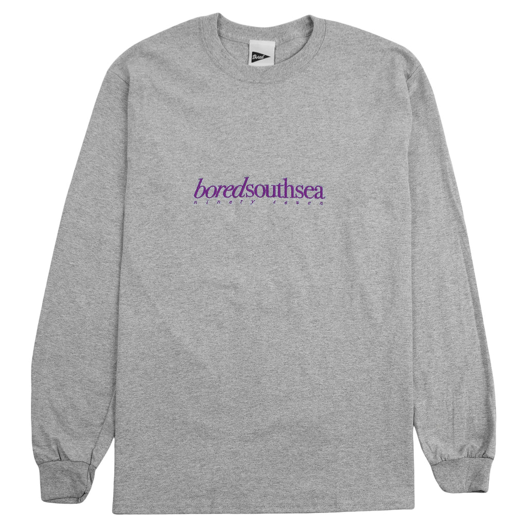 Bored of Southsea L/S Hammer T Shirt in Heather Grey / Purple