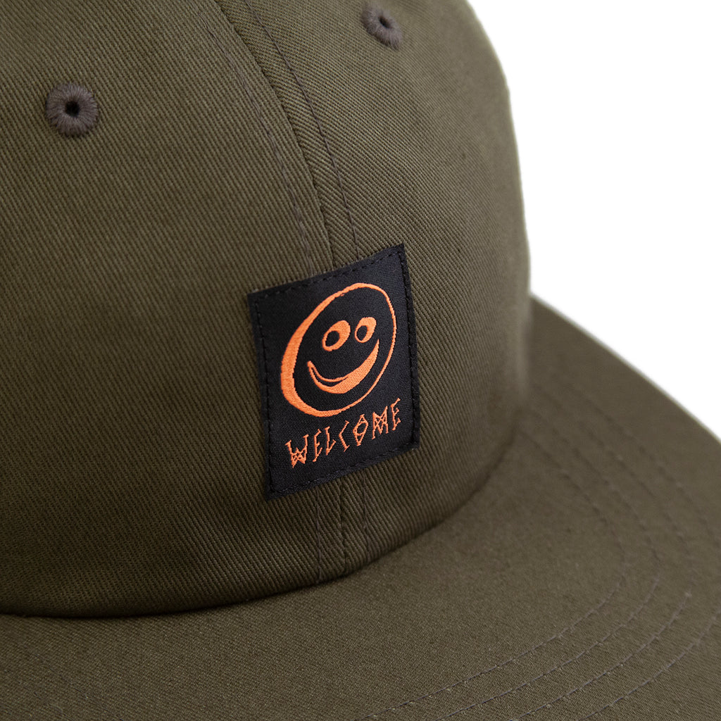 Welcome Skateboards Smiley Unstructured Snapback Cap in Olive - Detail
