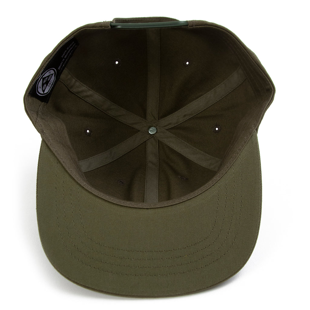 Welcome Skateboards Smiley Unstructured Snapback Cap in Olive - Inside