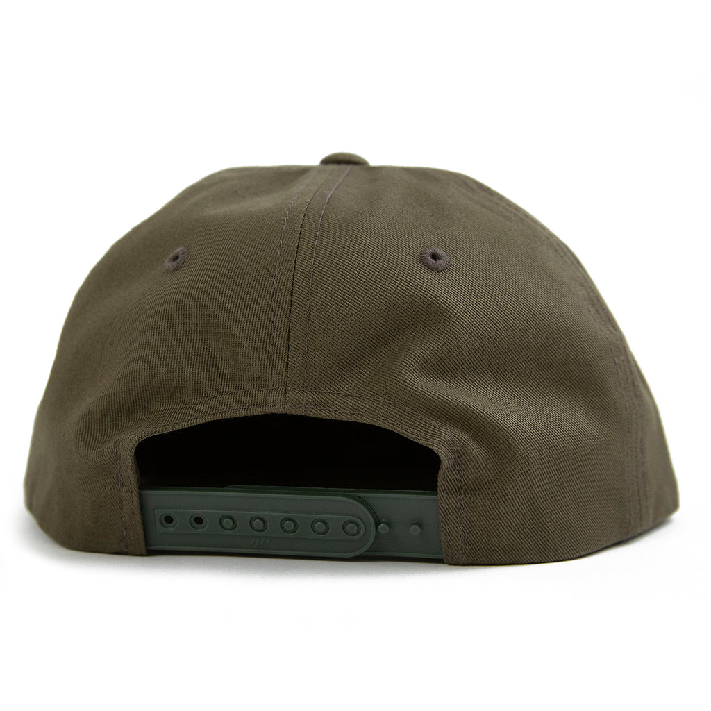 Welcome Skateboards Smiley Unstructured Snapback Cap in Olive - Back