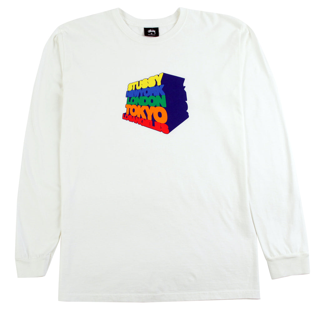 Stussy L/S Stacked Up Pigment Dyed T Shirt in Natural