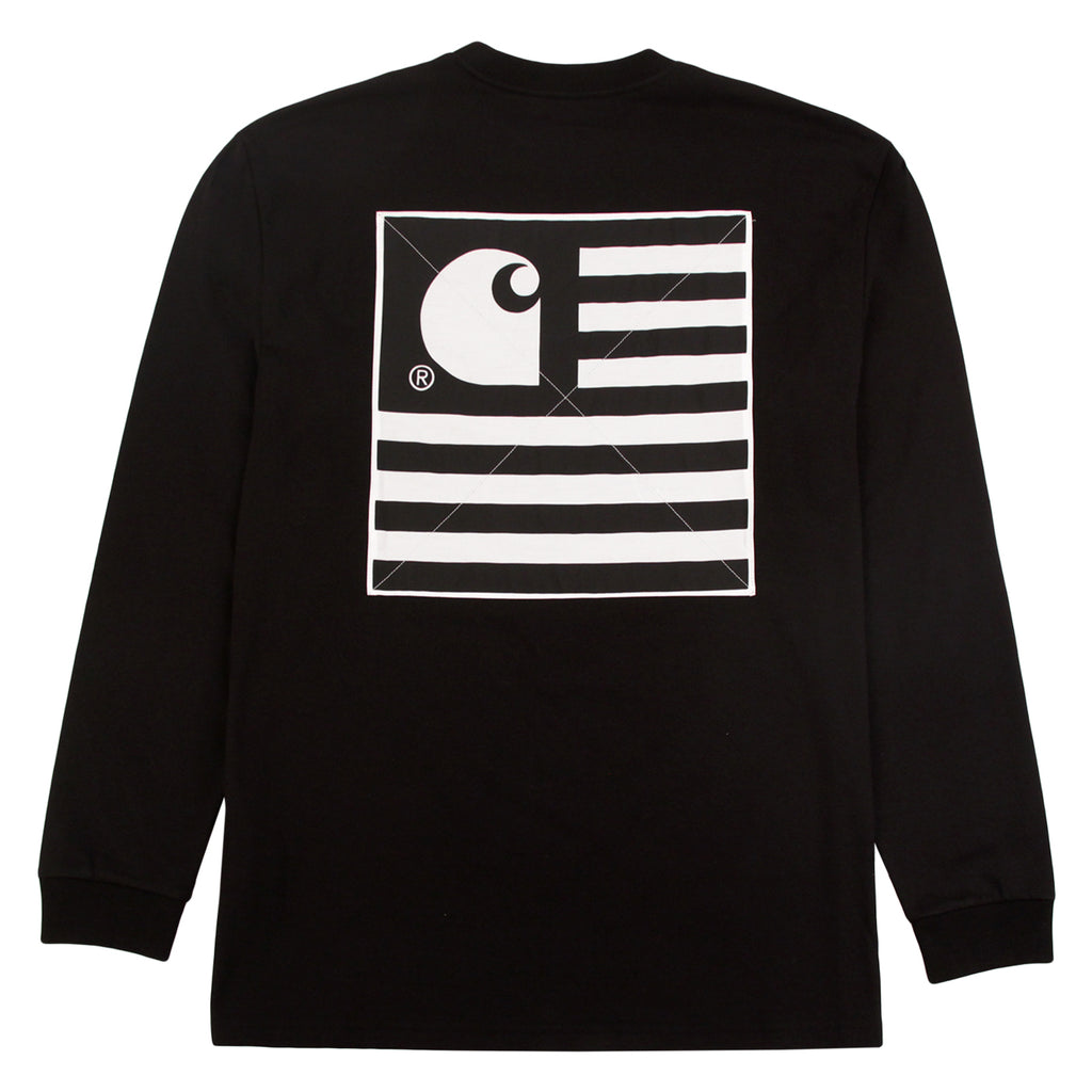 Carhartt L/S State Patch T Shirt in Black - Back