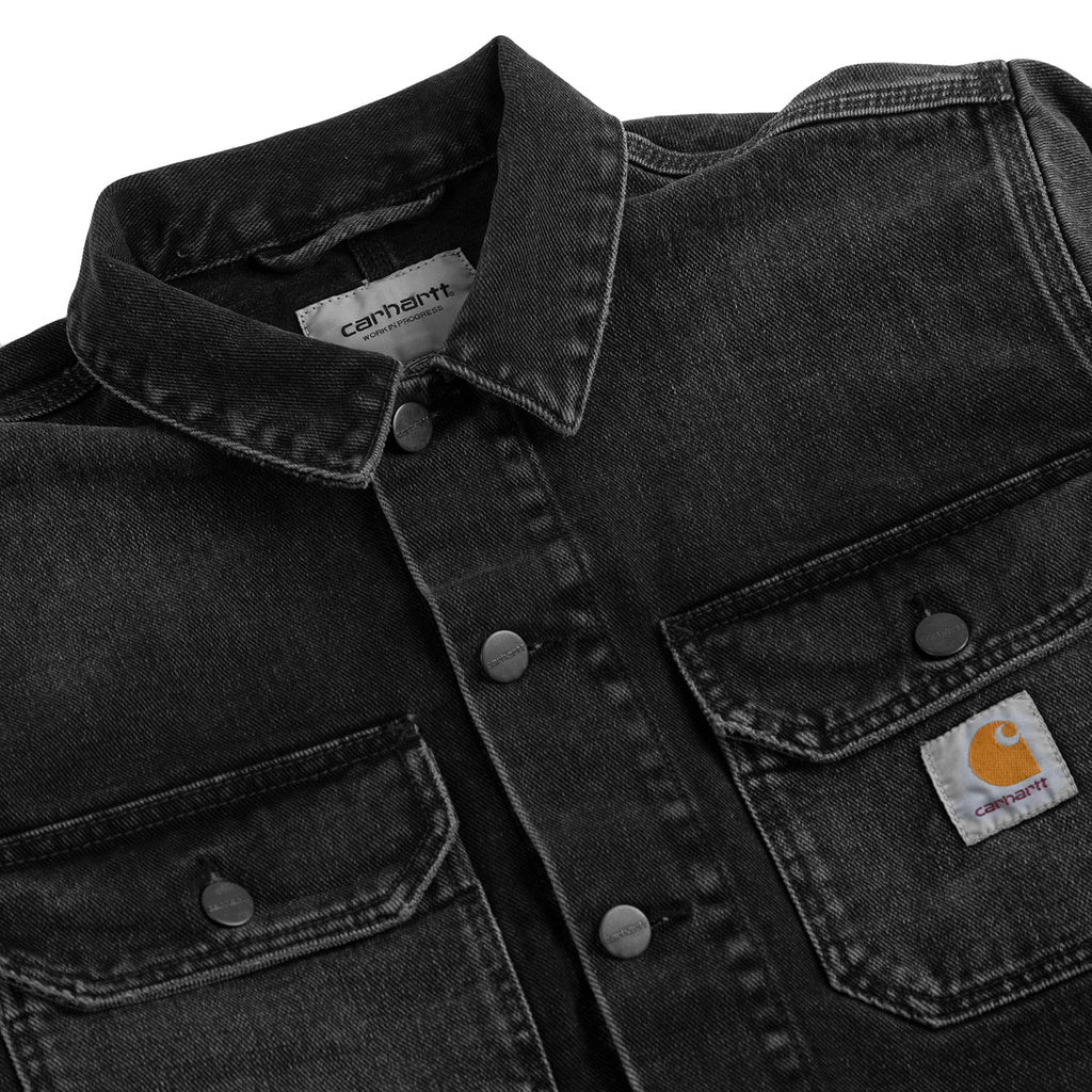 Carhartt WIP Stetson Jacket in Black Mid Worn Wash - Detail
