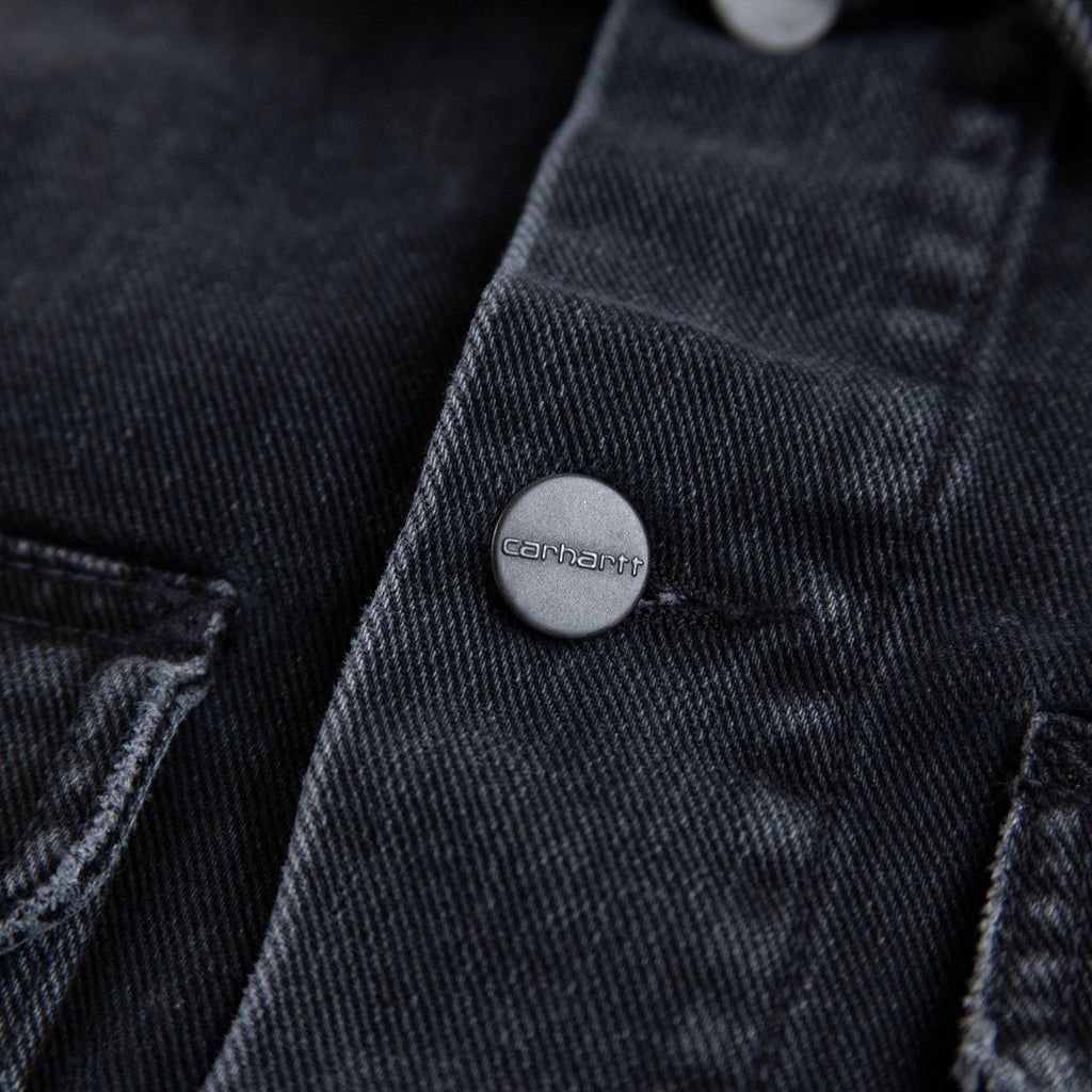 Carhartt WIP Stetson Jacket in Black Mid Worn Wash - Button