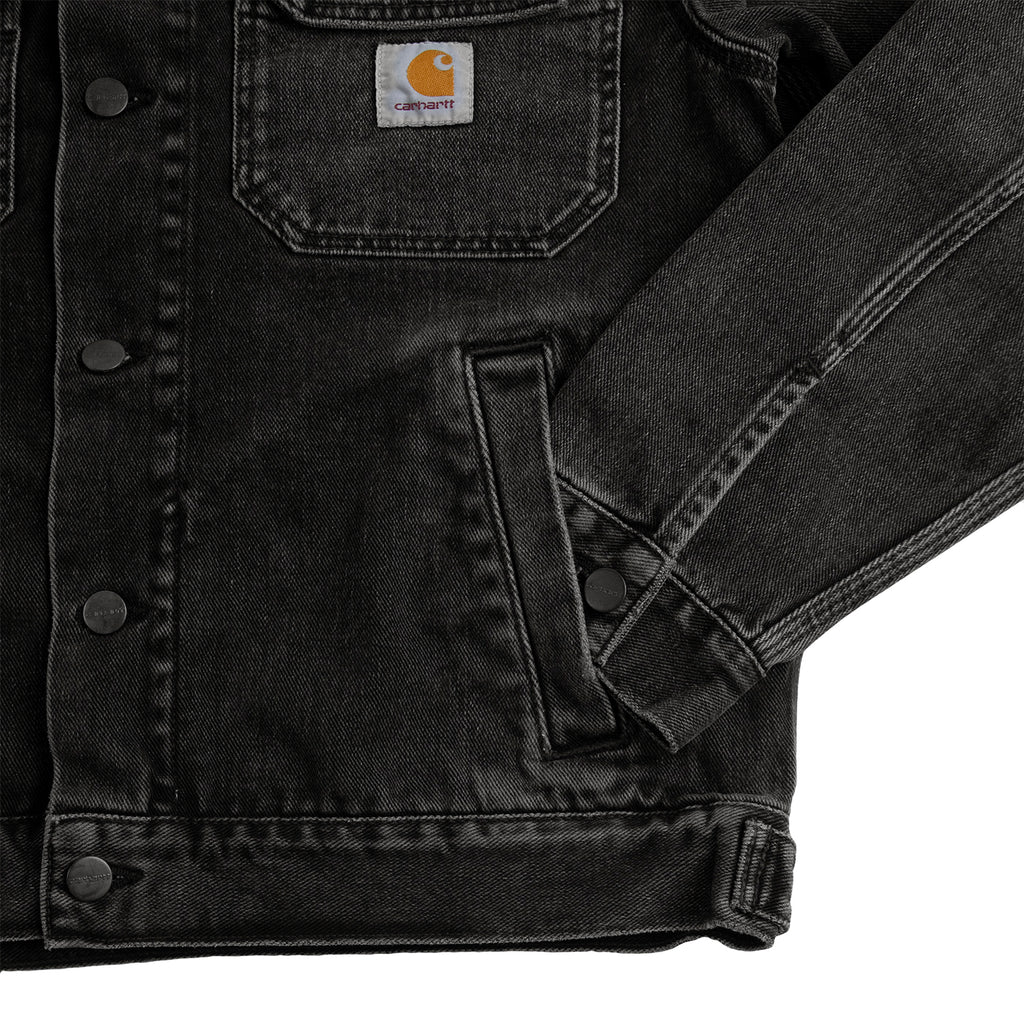 Carhartt WIP Stetson Jacket in Black Mid Worn Wash - Cuff