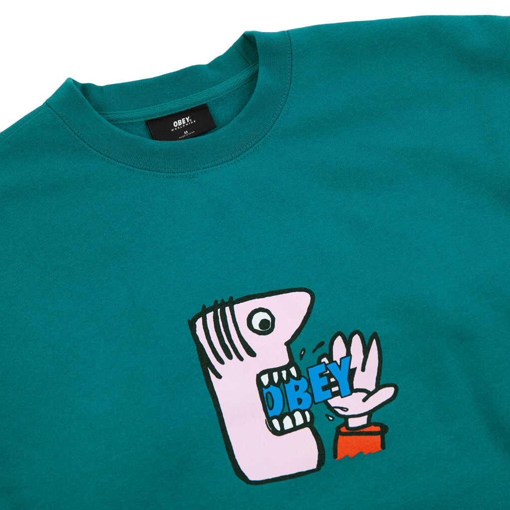 Obey Clothing Still Hungry Sweatshirt in Eucalyptus - Detail