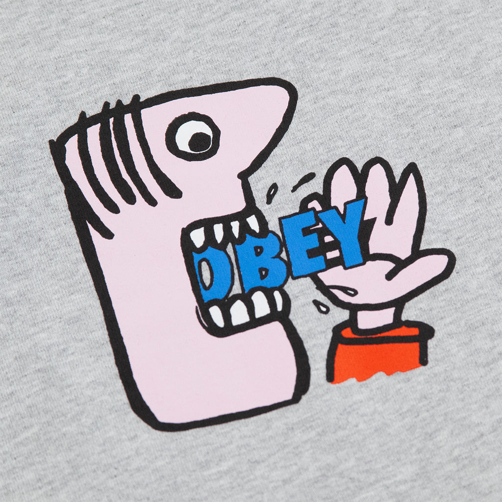 Obey Clothing Still Hungry T Shirt in Heather Grey - Print