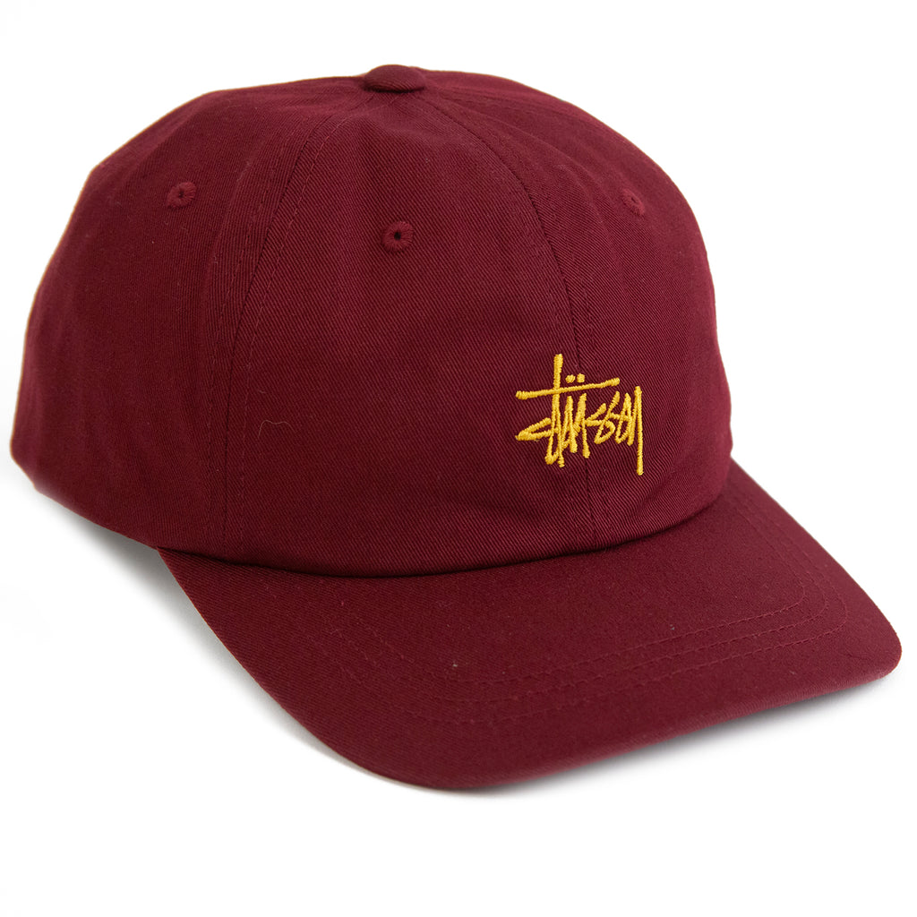 Stussy Stock Low Pro Cap in Burgundy