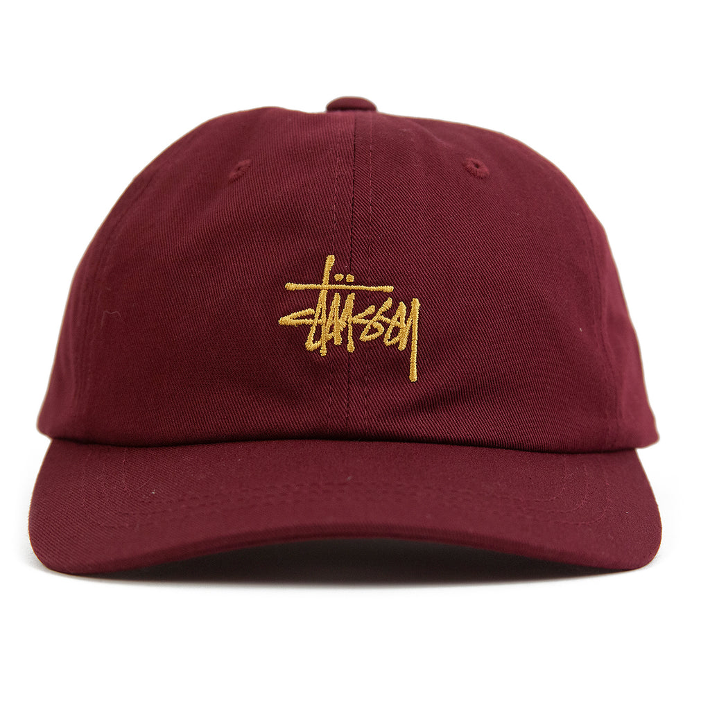 Stussy Stock Low Pro Cap in Burgundy - Front