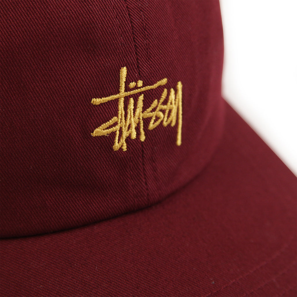Stussy Stock Low Pro Cap in Burgundy - Detail