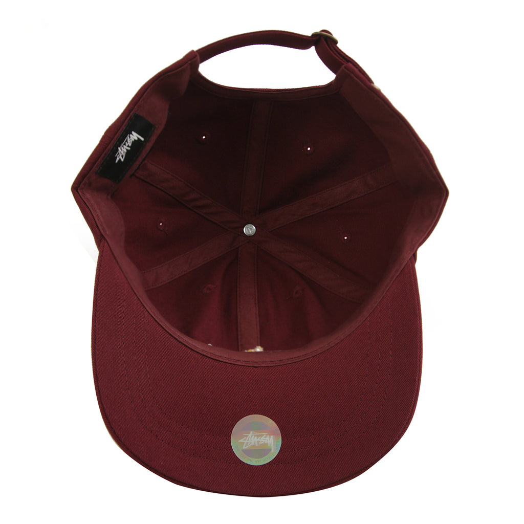 Stussy Stock Low Pro Cap in Burgundy - Inside