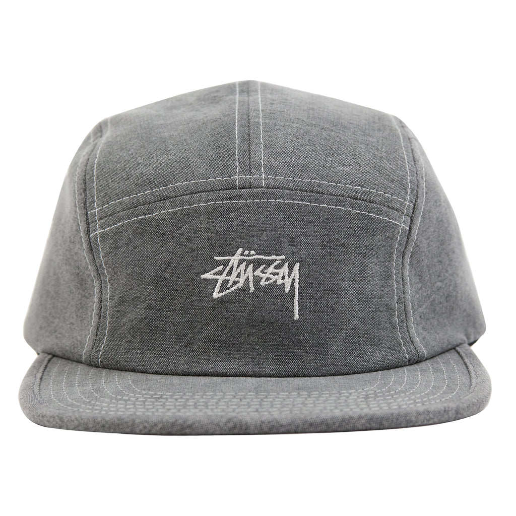 Stussy Stock Washed Canvas Camp Cap in Grey - Front