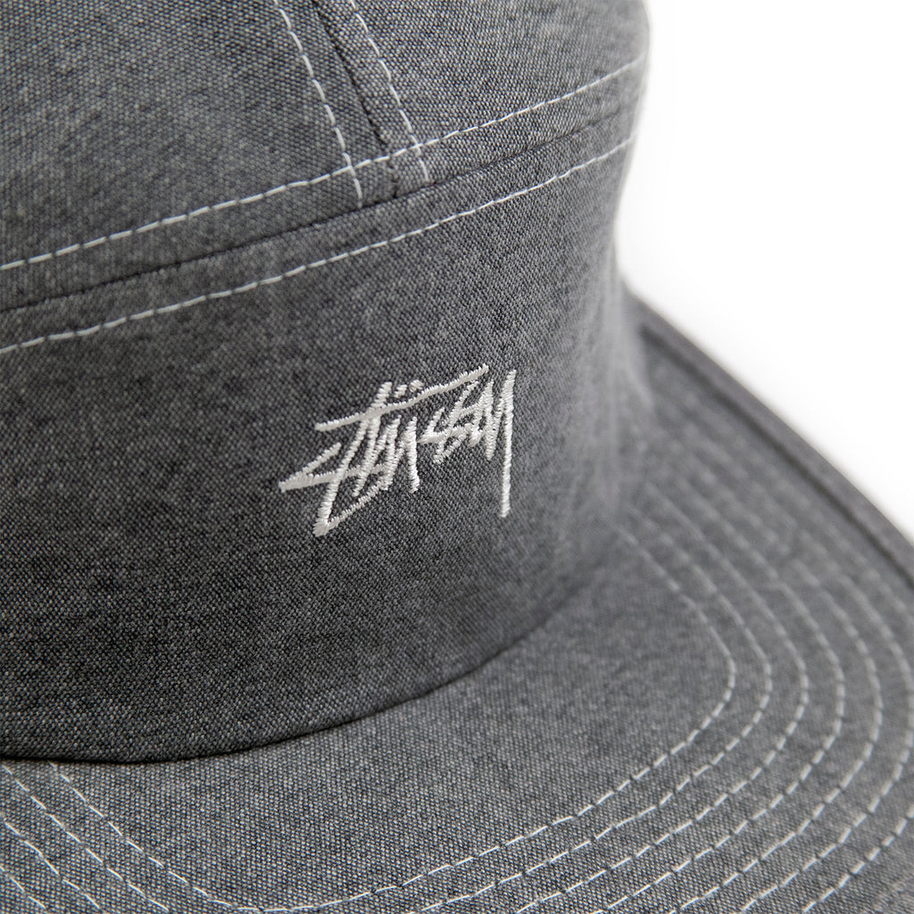 Stussy Stock Washed Canvas Camp Cap in Grey - Embroidery