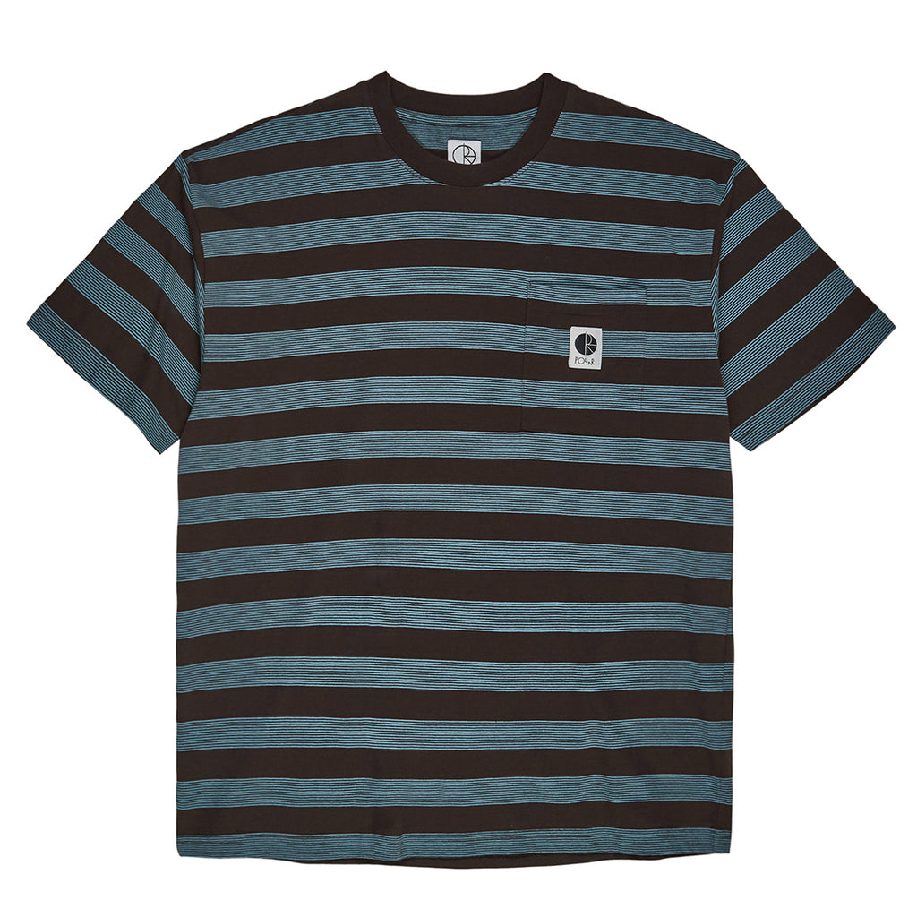 Polar Skate Co Stripe Pocket T Shirt in Brown / Blue