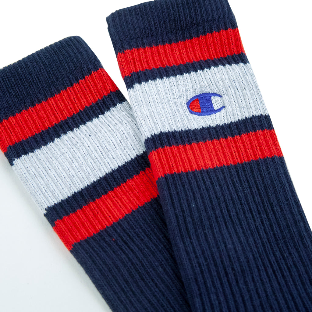 Champion Reverse Weave Athletic Socks in Navy / White / Red - Pair