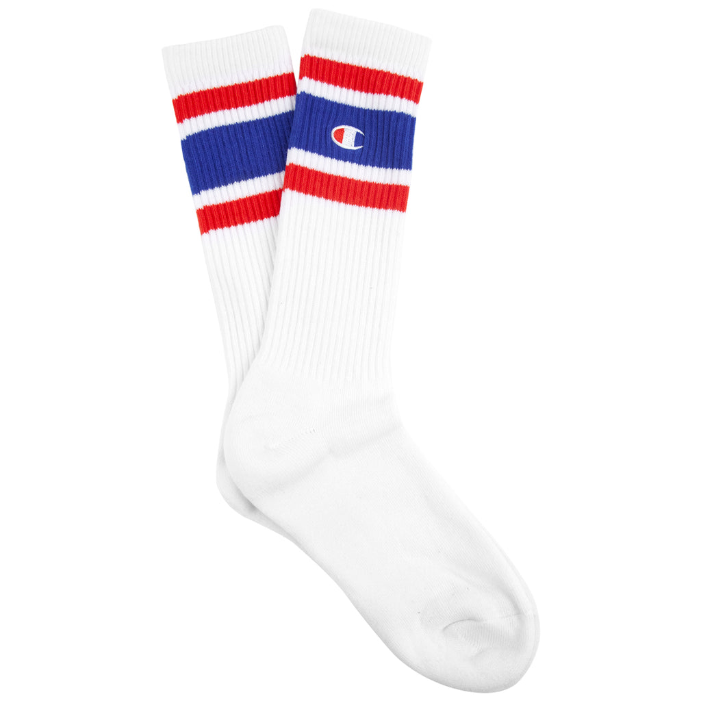 Champion Reverse Weave Athletic Socks in White / Blue / Red