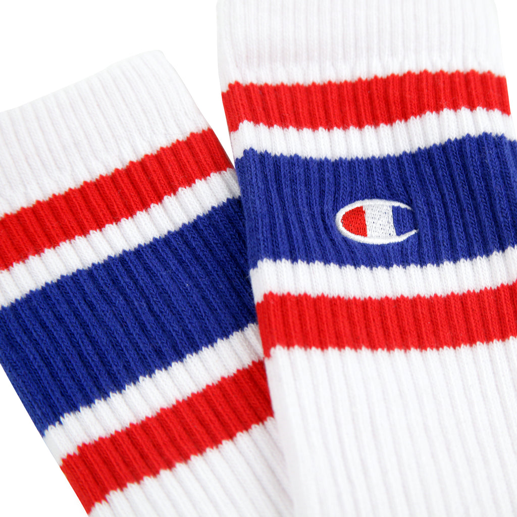 Champion Reverse Weave Athletic Socks in White / Blue / Red - Pair