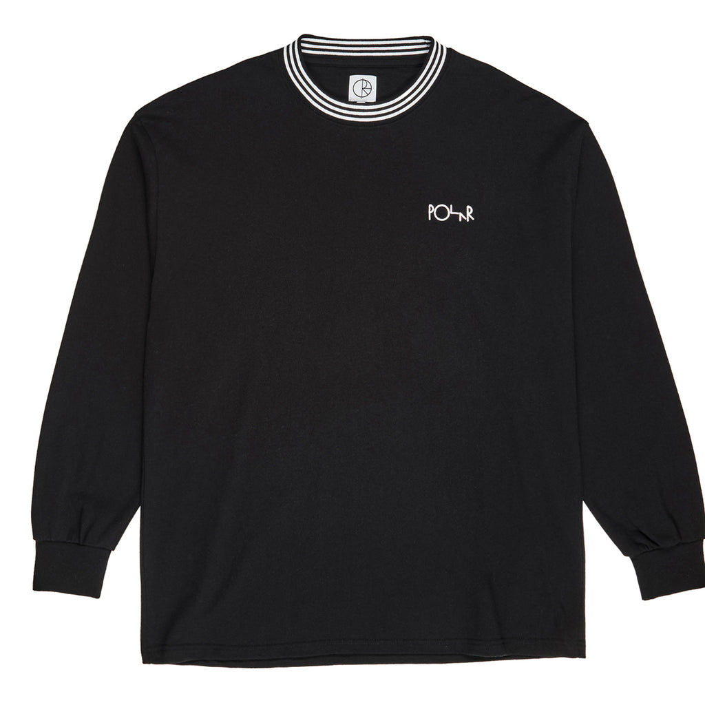 Polar Skate Co L/S Striped Rib T Shirt in Black