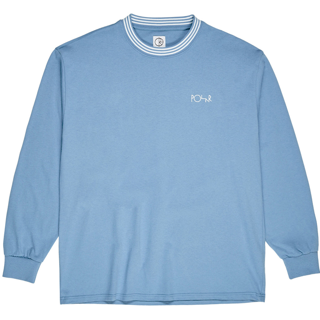 Polar Skate Co L/S Striped Rib T Shirt in Blue