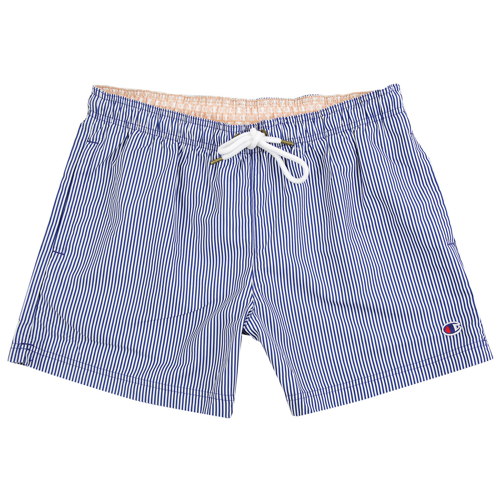Champion Reverse Weave Striped Beach Short in Light Blue