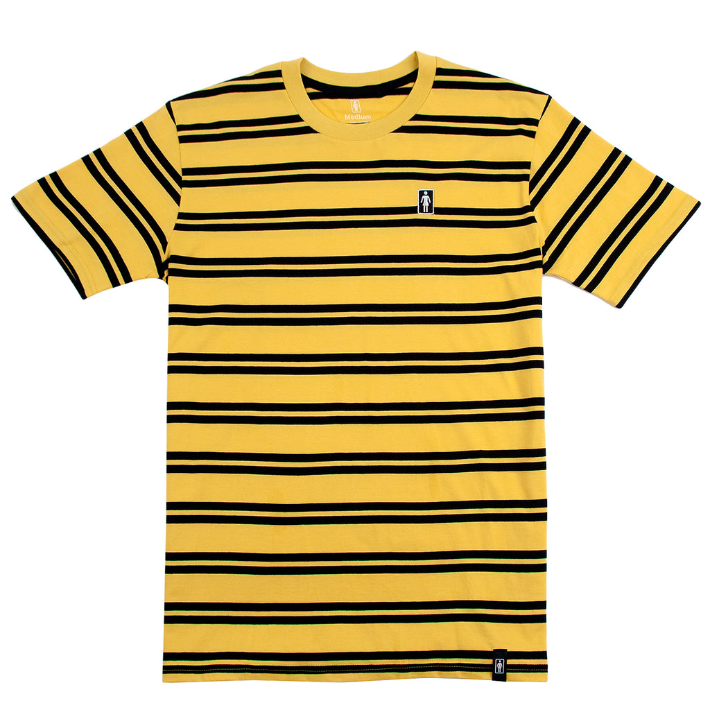 Girl Skateboards Striped OG Embroidered T Shirt in Yellow / Black
