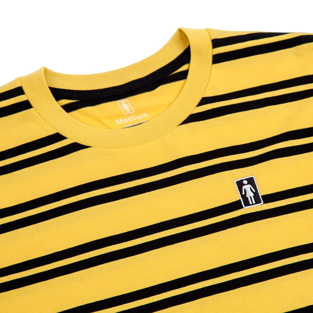 Girl Skateboards Striped OG Embroidered T Shirt in Yellow / Black - Detail