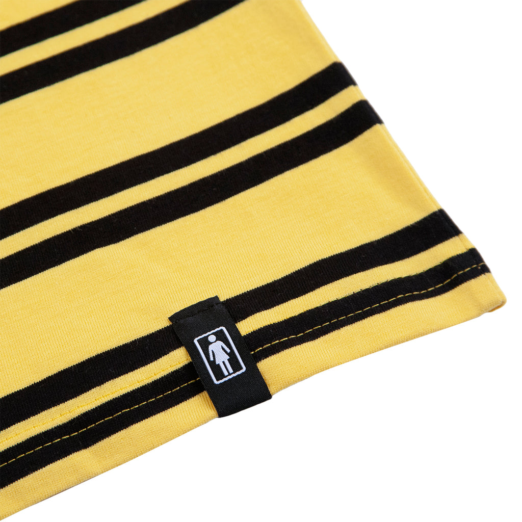 Girl Skateboards Striped OG Embroidered T Shirt in Yellow / Black - Label