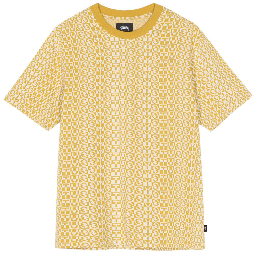 Stussy Check Crew T Shirt in Mustard