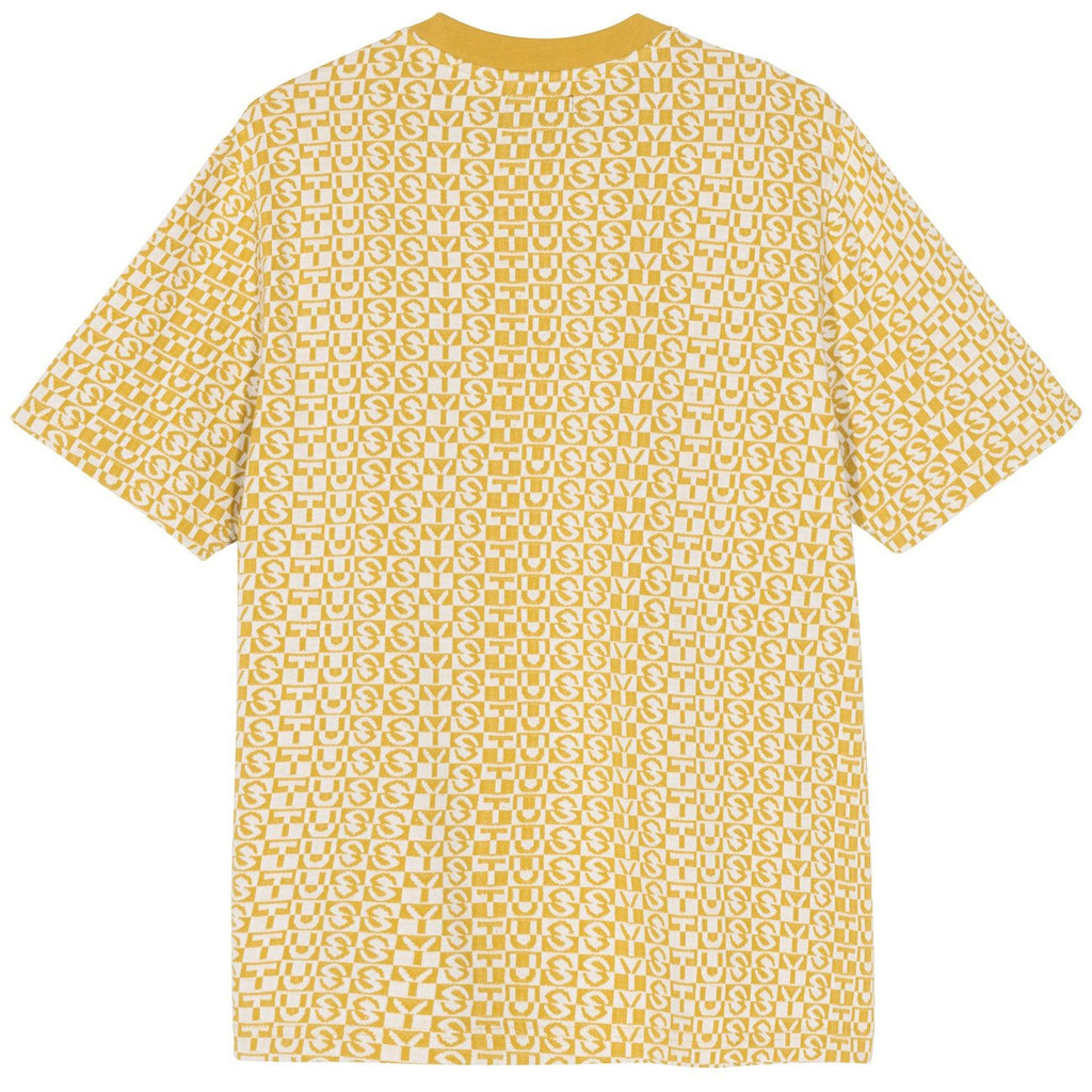 Stussy Check Crew T Shirt in Mustard - Back