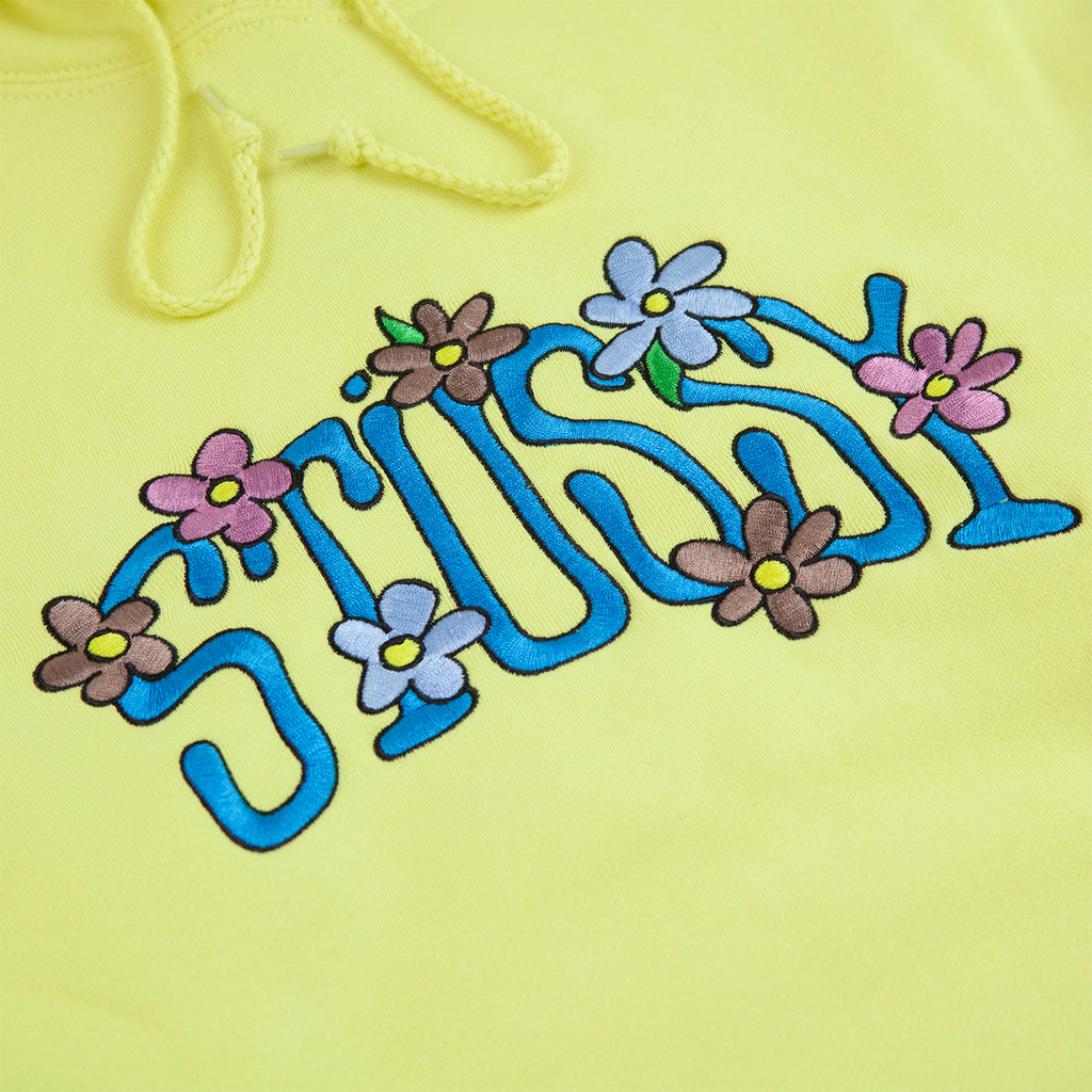 Stussy Collegiate Floral App Hoodie in Lemon - Embroidery